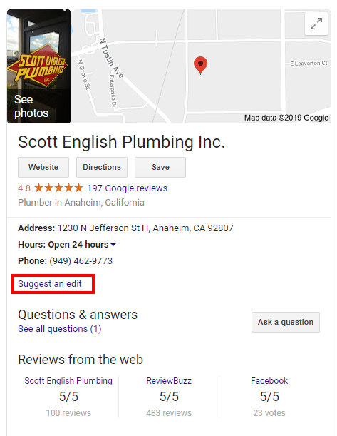 Scott English Plumbing knowledge panel