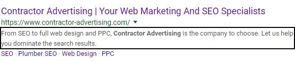 optimized meta description image with description boxed in on SERP