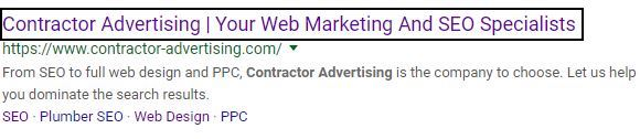 optimized meta title with title boxed in on SERP