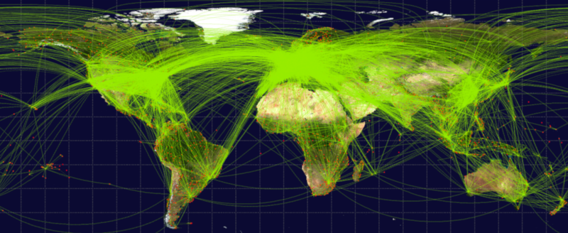 worldwide linking graphic showing link paths