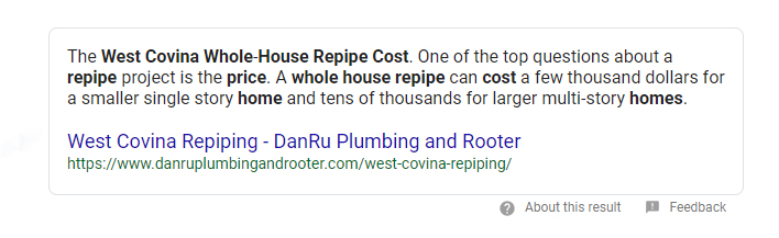 whole house repipe featured snippet example