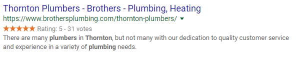 Brothers Plumbing Rich Snippet Example
