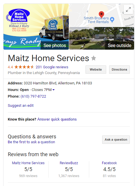 Maitz Home Services knowledge card