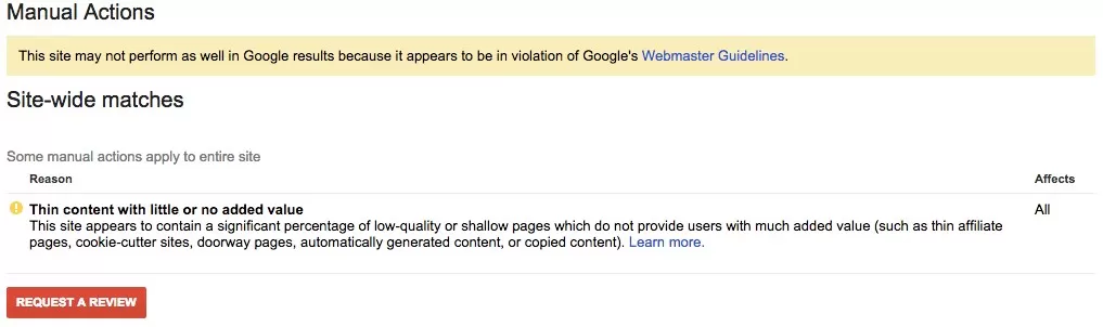 Google thin content warning